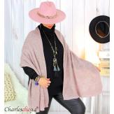 Echarpe étole hiver laine alpaga torsadée rose FUNY Écharpe laine femme