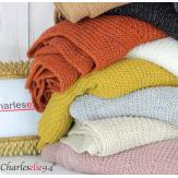 Echarpe étole hiver laine alpaga torsadée blanche FUNY Écharpe laine femme