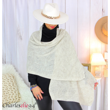 Echarpe étole hiver laine alpaga torsadée beige FUNY Écharpe laine femme