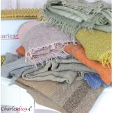 Echarpe étole hiver laine alpaga tissée HONORA rose Accessoires mode femme