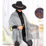 Echarpe étole hiver laine alpaga tissée HONORA gris Accessoires mode femme