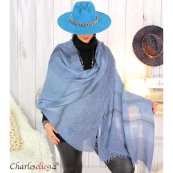 Echarpe étole hiver laine alpaga tissée HONORA bleu jean Accessoires mode femme
