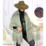 Echarpe étole hiver laine alpaga tissée HONORA kaki Accessoires mode femme