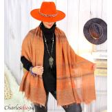 Echarpe étole hiver laine alpaga tissée HONORA brique Accessoires mode femme