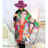Écharpe étole cachemire laine imprimée 180 x 73 FA1 Écharpe cachemire femme