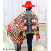 Écharpe étole cachemire laine imprimée 180 x 73 FA2 Écharpe cachemire femme