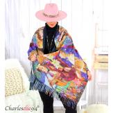Écharpe étole cachemire laine imprimée 180 x 73 FA4 Écharpe cachemire femme