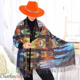 Écharpe étole cachemire laine imprimée 180 x 73 FA5 Écharpe cachemire femme