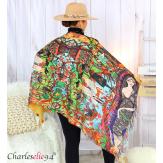 Écharpe étole cachemire laine imprimée 180 x 73 FA7 Écharpe cachemire femme