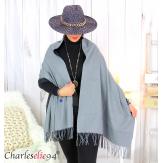Écharpe étole cachemire laine unie réversible hiver FA8 Écharpe cachemire femme