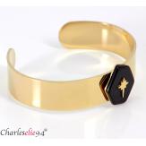 Bracelet manchette jonc acier doré et onyx BM6 Bracelet manchette