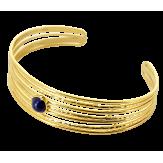 Bracelet manchette jonc acier et lapis lazuli BM7 Bracelet manchette