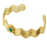 Bracelet manchette jonc acier et malachite BM8 Bracelet manchette