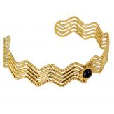 Bracelet manchette jonc acier doré et agate BM9 Bracelet manchette