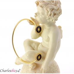 Bracelet manchette acier doré la vie en rose BM11 Bracelet manchette