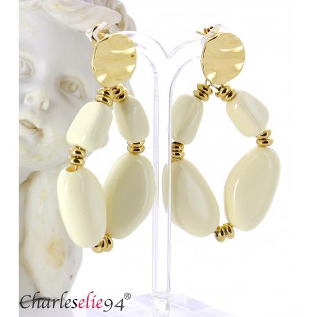 Boucles d'oreilles pendantes acier doré résine bcl11 Boucles d'oreilles