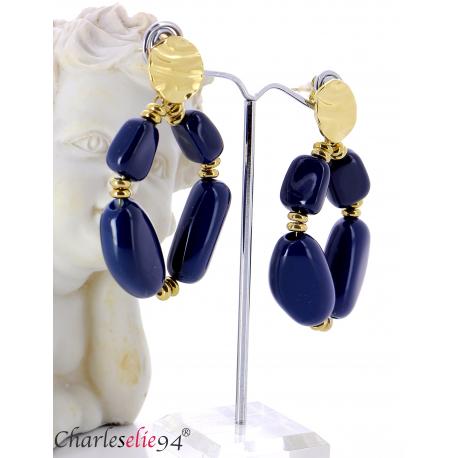 Boucles d'oreilles pendantes acier doré résine bcl12 Boucles d'oreilles