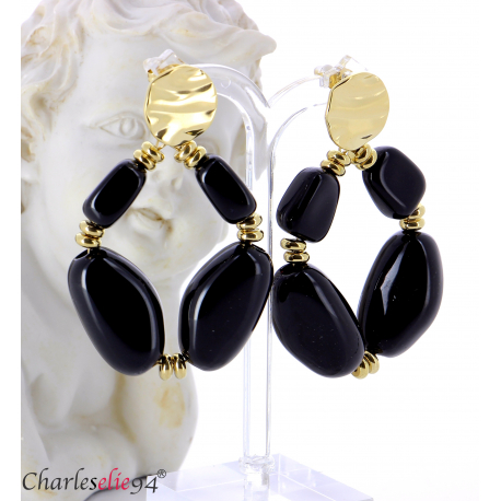 Boucles d'oreilles pendantes acier doré résine bcl13 Boucles d'oreilles
