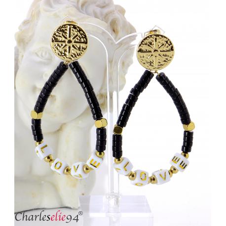 Boucles d'oreilles pendantes acier doré résine bcl14 Boucles d'oreilles