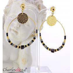 Boucles d'oreilles créoles acier doré perles bcl15 Boucles d'oreilles
