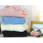 Gilet long laine grosse maille torsadé rose ALANO Gilet femme grande taille