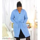 Gilet long laine grosse maille torsadé bleu ALANO Gilet femme grande taille