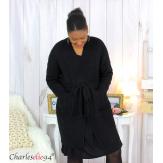 Gilet long laine noir grosse maille torsadé ALANO Gilet femme grande taille