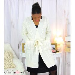 Gilet long laine beige grosse maille torsadé ALANO Gilet femme grande taille