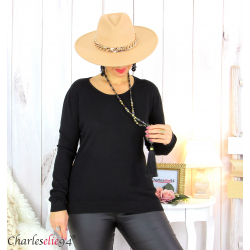 Pull femme col rond touché cachemire FETY noir Pull femme grande taille