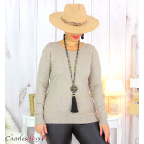 Pull femme col rond touché cachemire FETY taupe Pull femme grande taille