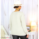 Pull femme col rond touché cachemire FETY beige Pull femme grande taille