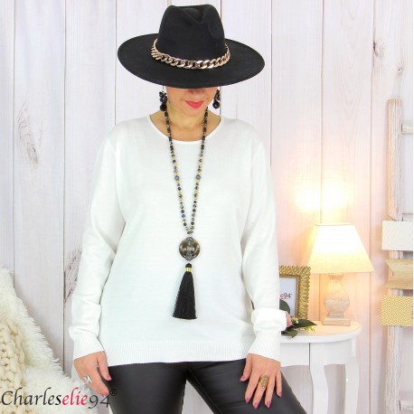 Pull femme col rond touché cachemire FETY écru Pull femme grande taille