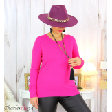 Pull femme col rond touché cachemire FETY fushia Pull femme grande taille