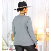 Pull femme col rond touché cachemire FETY gris Pull femme grande taille