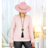 Pull femme col rond touché cachemire FETY rose Pull femme grande taille