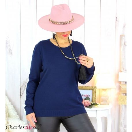 Pull femme col rond touché cachemire FETY bleu marine Pull femme grande taille