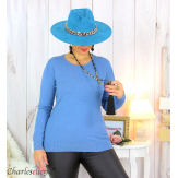Pull femme col rond touché cachemire FETY bleu jean Pull femme grande taille