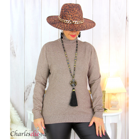 Pull femme col roulé touché cachemire MIORA taupe Pull femme grande taille