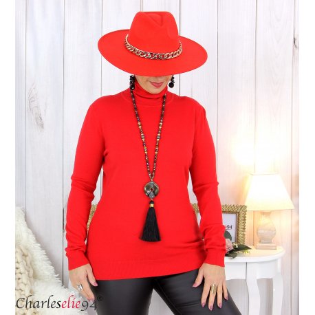 Pull femme col roulé touché cachemire MIORA rouge Pull femme grande taille