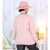 Pull femme col roulé touché cachemire MIORA rose Pull femme grande taille