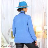 Pull femme col roulé touché cachemire MIORA bleu jean Pull femme grande taille