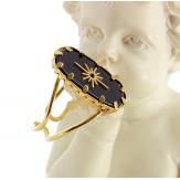 Bague acier doré onyx réglable MOKI8 Bijoux fantaisie