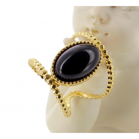 Bague acier doré onyx réglable MOKI9 Bijoux fantaisie
