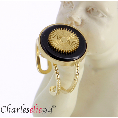 Bague acier doré agate noire réglable MOKI10 Bijoux fantaisie