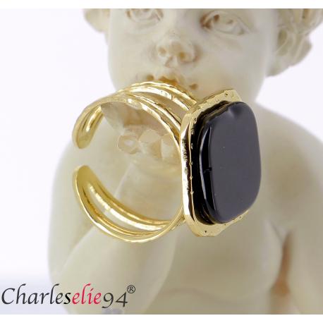 Bague acier doré agate noire réglable MOKI11 Bijoux fantaisie