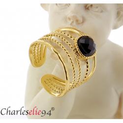 Bague acier doré agate noire réglable MOKI12 Bijoux fantaisie