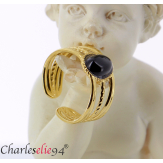 Bague acier doré agate noire réglable MOKI13 Bijoux fantaisie