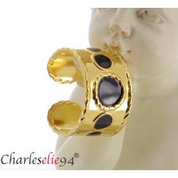 Bague jonc en acier doré et noir réglable MOKI15 Bijoux fantaisie