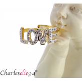 Bague en acier doré et brillants love réglable MOKI16 Bijoux fantaisie