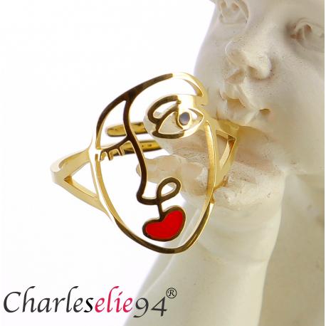 Bague en acier doré visage réglable MOKI17 Bijoux fantaisie